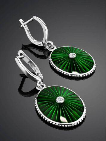 Green Enamel Oval Dangles With Diamonds The Heritage, image , picture 2