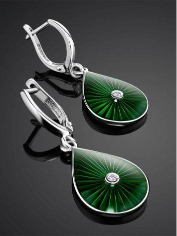 Silver Drop Earrings With Enamel And Diamonds The Heritage, image , picture 2