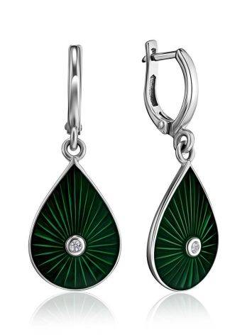 Silver Drop Earrings With Enamel And Diamonds The Heritage, image