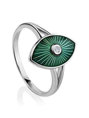Green Enamel Diamond Ring The Heritage, Ring Size: 6.5 / 17, image