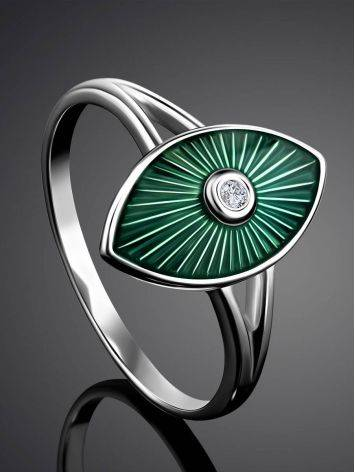 Green Enamel Diamond Ring The Heritage, Ring Size: 6.5 / 17, image , picture 2