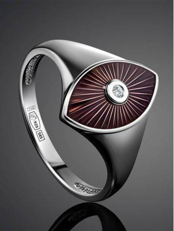 Silver Diamond Ring With Red Enamel The Heritage, Ring Size: 6.5 / 17, image , picture 2
