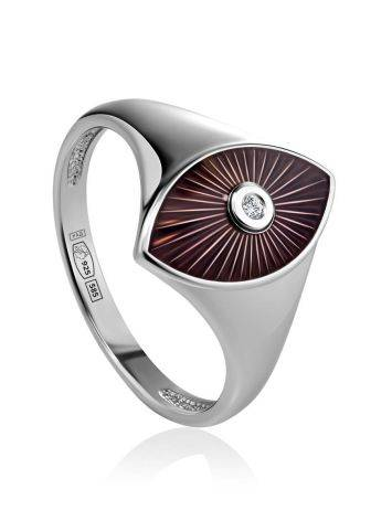 Silver Diamond Ring With Red Enamel The Heritage, Ring Size: 6.5 / 17, image