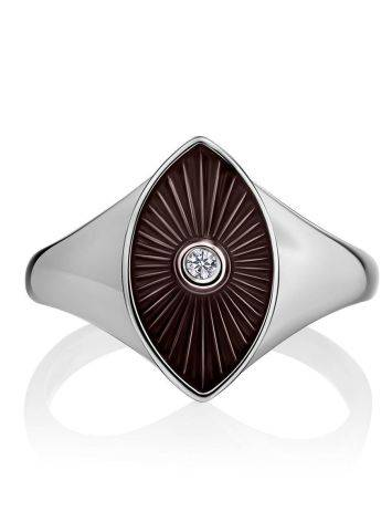 Silver Diamond Ring With Red Enamel The Heritage, Ring Size: 6.5 / 17, image , picture 3