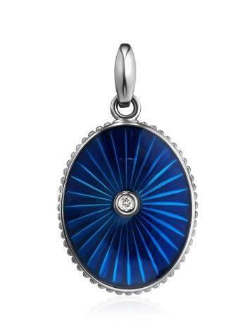 Blue Enamel Oval Pendant With Diamond The Heritage, image