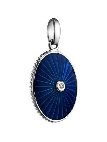 Blue Enamel Oval Pendant With Diamond The Heritage, image , picture 3