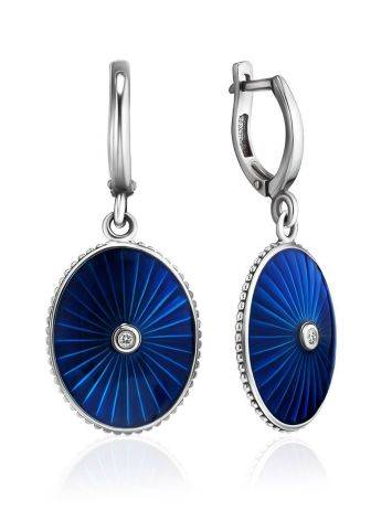 Blue Enamel Silver Dangles With Diamonds The Heritage, image