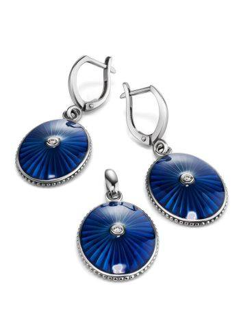Blue Enamel Silver Dangles With Diamonds The Heritage, image , picture 3