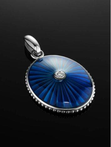 Blue Enamel Oval Pendant With Diamond The Heritage, image , picture 2