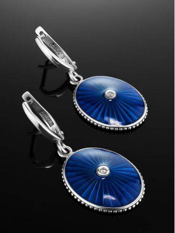 Blue Enamel Silver Dangles With Diamonds The Heritage, image , picture 2