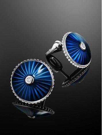 Blue Enamel Diamond Stud Earrings The Heritage, image , picture 2