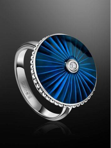 Blue Enamel Silver Ring With Diamond The Heritage, Ring Size: 5.5 / 16, image , picture 2