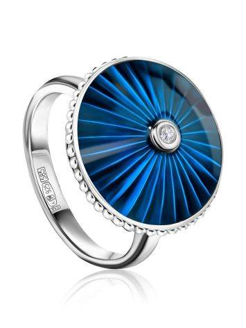 Blue Enamel Silver Ring With Diamond The Heritage, Ring Size: 5.5 / 16, image