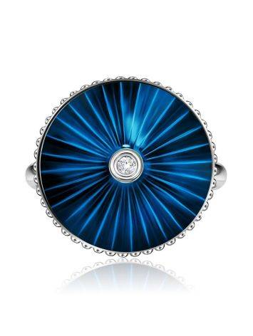 Blue Enamel Silver Ring With Diamond The Heritage, Ring Size: 5.5 / 16, image , picture 3