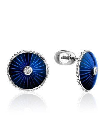 Blue Enamel Diamond Stud Earrings The Heritage, image