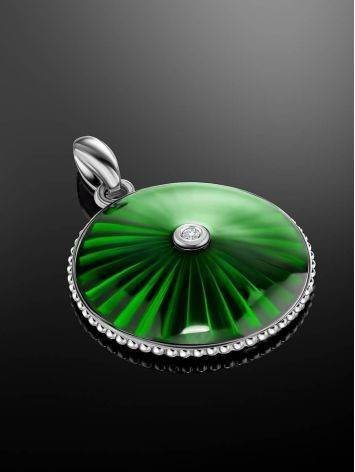 Round Silver Pendant With Green Enamel And Diamond The  Heritage, image , picture 2