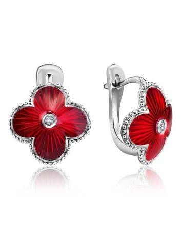 Red Enamel Clover Shaped Earrings With Diamonds The Heritage, image
