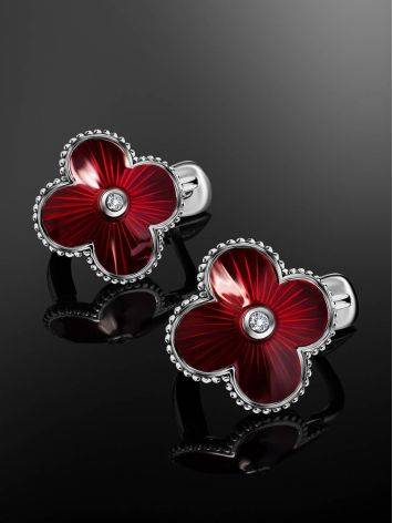 Red Enamel Clover Shaped Earrings With Diamonds The Heritage, image , picture 2
