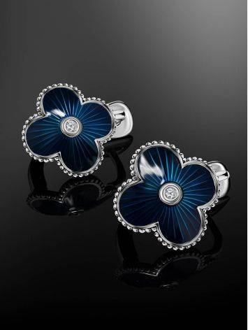 Blue Enamel Clover Shaped Earrings With Diamond The Heritage, image , picture 2