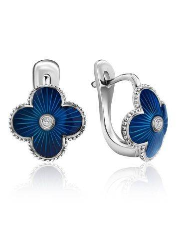 Blue Enamel Clover Shaped Earrings With Diamond The Heritage, image