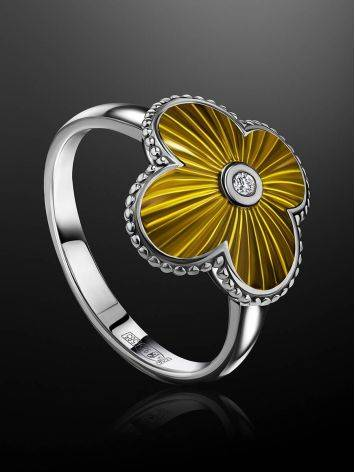 Luminous Enamel Four Petal Ring With Diamond The Heritage, Ring Size: 6.5 / 17, image , picture 2
