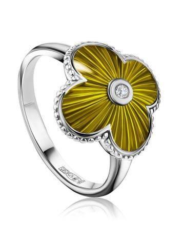 Luminous Enamel Four Petal Ring With Diamond The Heritage, Ring Size: 6.5 / 17, image