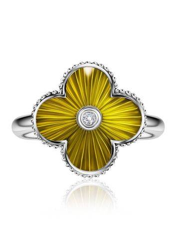 Luminous Enamel Four Petal Ring With Diamond The Heritage, Ring Size: 6.5 / 17, image , picture 3
