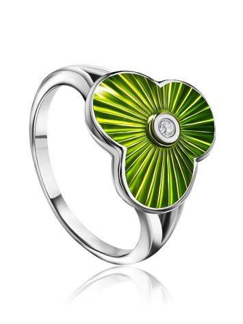 Green Enamel Diamond Ring The Heritage, Ring Size: 5.5 / 16, image