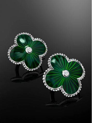 Green Enamel Four Petal Earrings With Diamonds The Heritage, image , picture 2