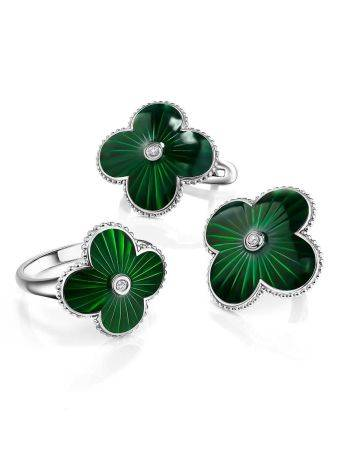 Green Enamel Four Petal Earrings With Diamonds The Heritage, image , picture 3