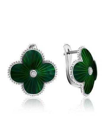 Green Enamel Four Petal Earrings With Diamonds The Heritage, image