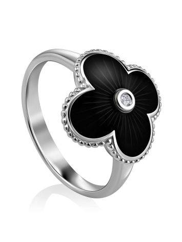 Black Enamel Four Petal Silver Ring With Diamond The Heritage, Ring Size: 8 / 18, image