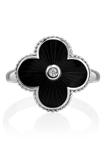 Black Enamel Four Petal Silver Ring With Diamond The Heritage, Ring Size: 8 / 18, image , picture 3