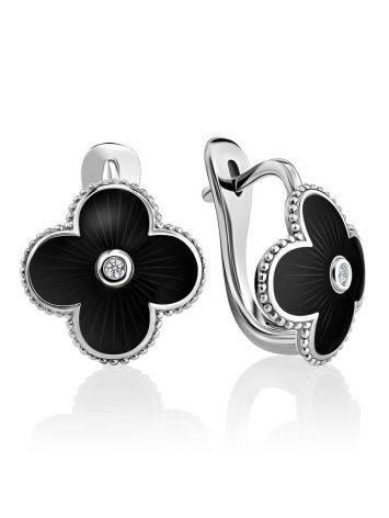 Black Enamel Four Petal Silver Earrings With Diamond The Heritage, image