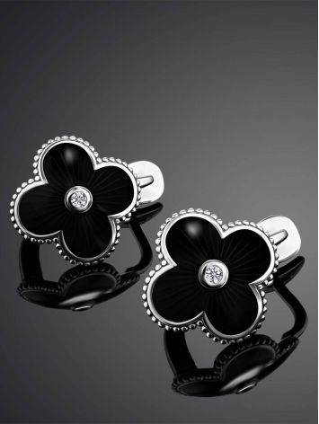 Black Enamel Four Petal Silver Earrings With Diamond The Heritage, image , picture 2