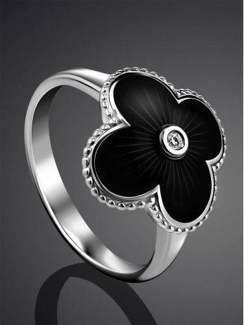 Black Enamel Four Petal Silver Ring With Diamond The Heritage, Ring Size: 8 / 18, image , picture 2