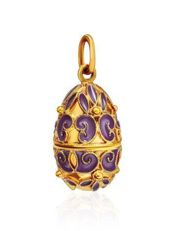 Ornate Gold Plated Silver Egg Shaped Pendant With Enamel The Romanov, image , picture 3