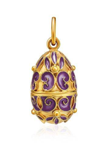 Ornate Gold Plated Silver Egg Shaped Pendant With Enamel The Romanov, image