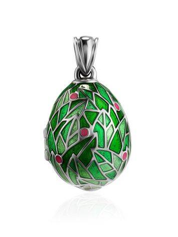 Green Enamel Locket Egg Pendant With Bird Dangle The Romanov, image