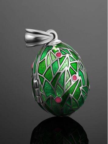 Green Enamel Locket Egg Pendant With Bird Dangle The Romanov, image , picture 2