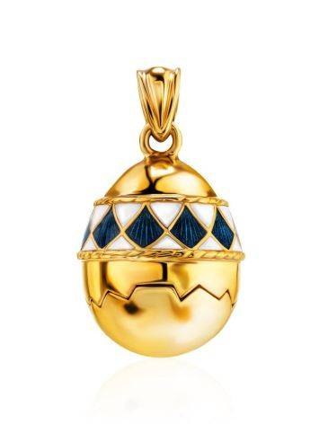 Gold Plated Silver Egg Locket Pendant With Two Toned Enamel The Romanov, image