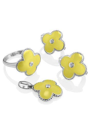 Silver Floral Earrings With Yellow Enamel And Diamonds The Heritage, image , picture 3