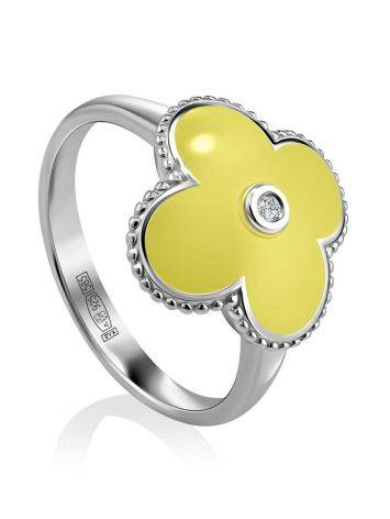 Yellow Enamel Clover Shaped Ring With Diamond The Heritage, Ring Size: 6.5 / 17, image