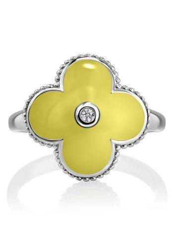 Yellow Enamel Clover Shaped Ring With Diamond The Heritage, Ring Size: 6.5 / 17, image , picture 4