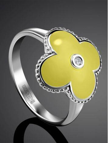 Yellow Enamel Clover Shaped Ring With Diamond The Heritage, Ring Size: 6.5 / 17, image , picture 2