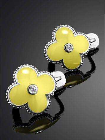 Silver Floral Earrings With Yellow Enamel And Diamonds The Heritage, image , picture 2