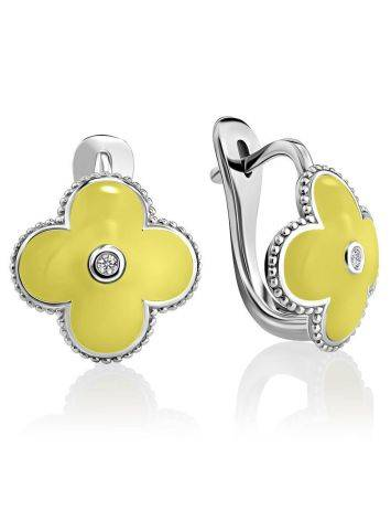 Silver Floral Earrings With Yellow Enamel And Diamonds The Heritage, image