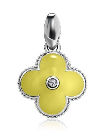 Silver Clover Shaped Pendant With Enamel With Diamond The Heritage, image