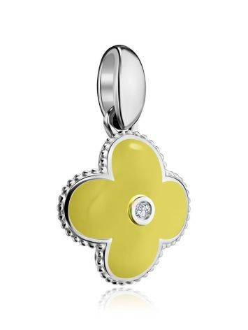 Silver Clover Shaped Pendant With Enamel With Diamond The Heritage, image , picture 3