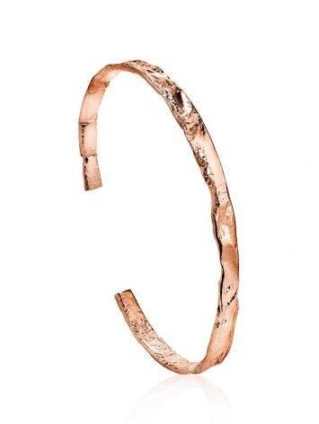 Trendy Textured Rose Gold Bangle Bracelet The Liquid, image